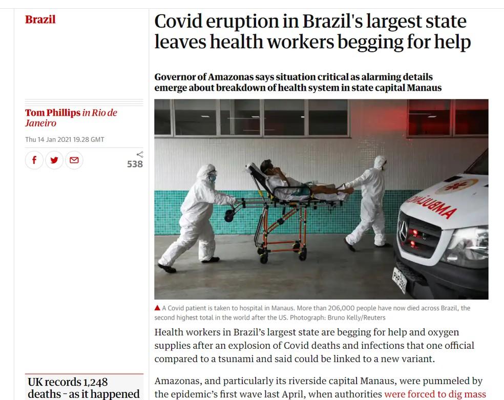 The Guardian: imprensa internacional repercute caos nos hospitais de Manaus — Foto: Reprodução/theguardian.com