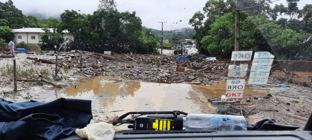 Situação é 'caótica em Presidente Getúlio', segundo o prefeito Nelson Virtuoso (Mdb) — Foto: Corpo de Bombeiros de Santa Catarina/Divulgação