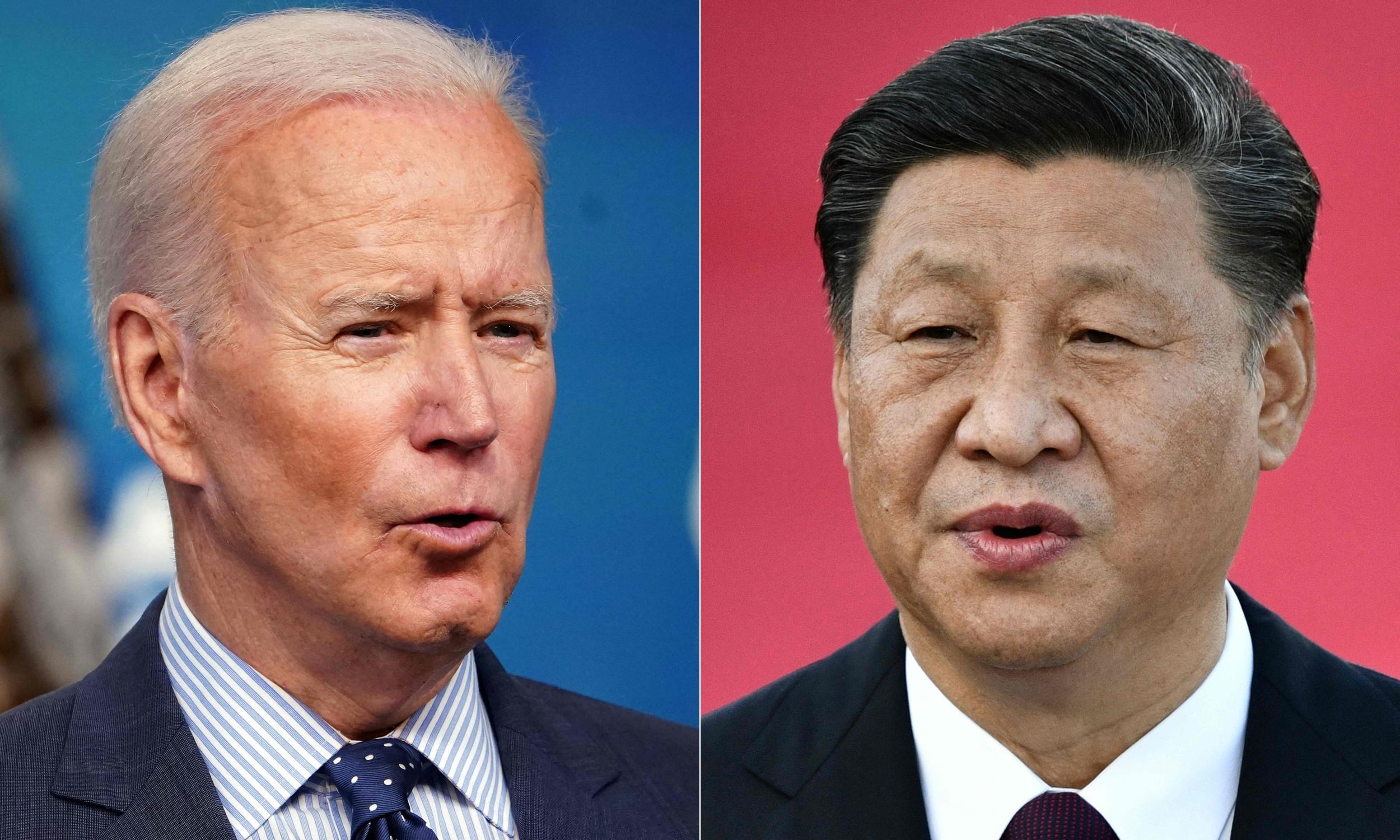 Presidente dos EUA, Joe Biden, e presidente da China, Xi Jinping