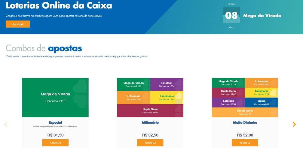 Combo especial de apostas no sistema online da Caixa Econômica Federal — Foto: Reprodução