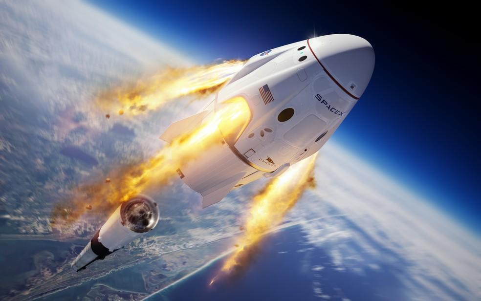 Ilustração divulgada pela SpaceX mostra a cápsula Crew Dragon e o foguete Falcon 9 após lançamento  — Foto: SpaceX/Divulgação via AP