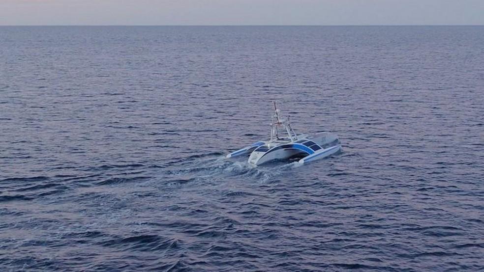 O navio autônomo Mayflower está no oceano Atlântico após uma escala nas ilhas de Scilly. — Foto: Oliver Dickinson for IBM/Promare