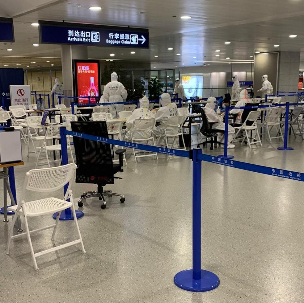 Aeroporto de Xangai quando Camila Martins chegou à China — Foto: Arquivo Pessoal