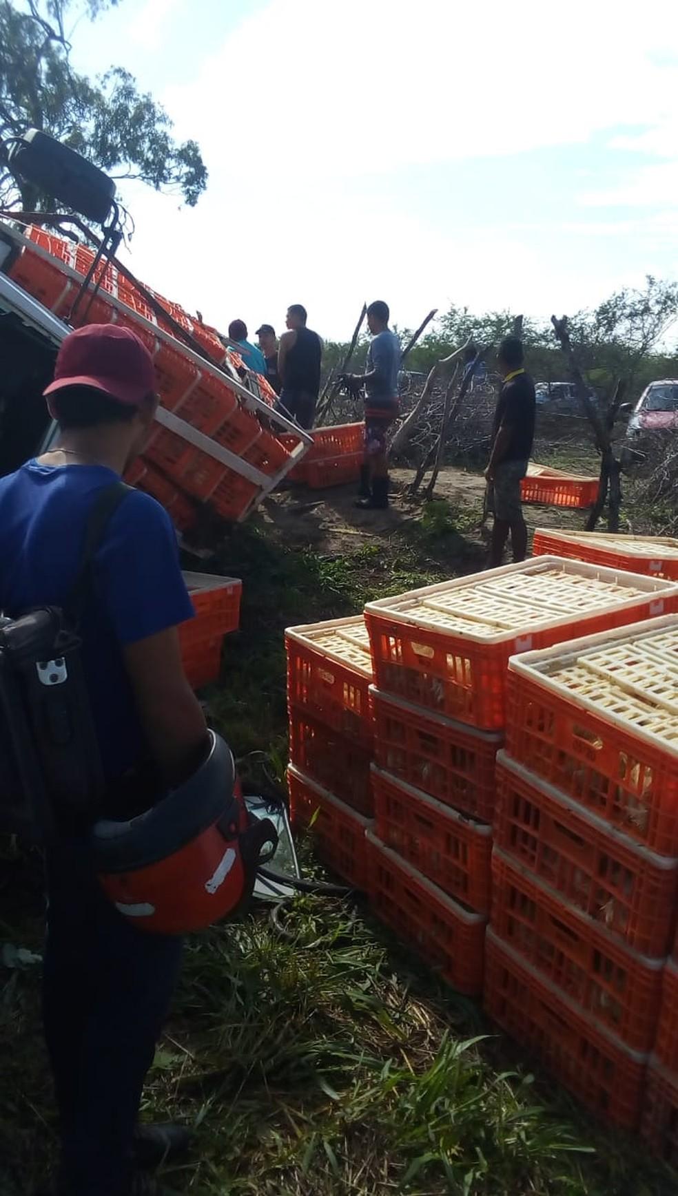 Caminhão carregado de frangos tombou em rodovia no interior do RN — Foto: Redes sociais
