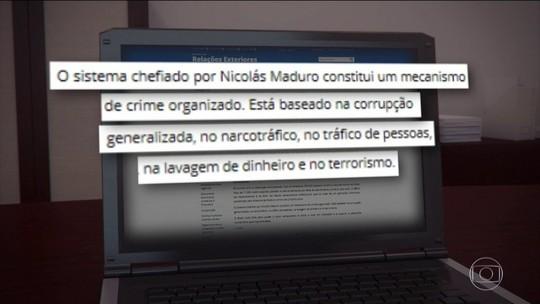Regime Maduro 'está baseado na corrupção e no terrorismo', diz Itamaraty