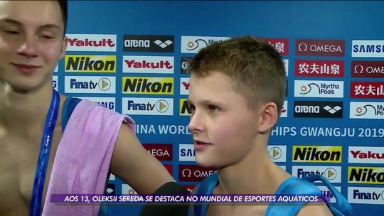 Aos 13 anos, saltador ucraniano brilha no mundial de esportes aquáticos e ficam perto da medalha