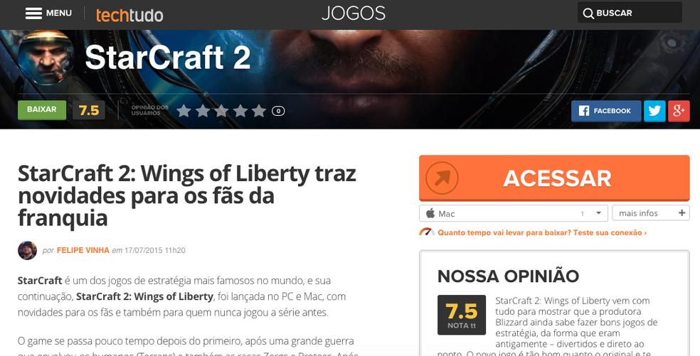 Acesse o download do game na página de StarCraft 2 no TechTudo (Foto: Reprodução/Felipe Vinha)