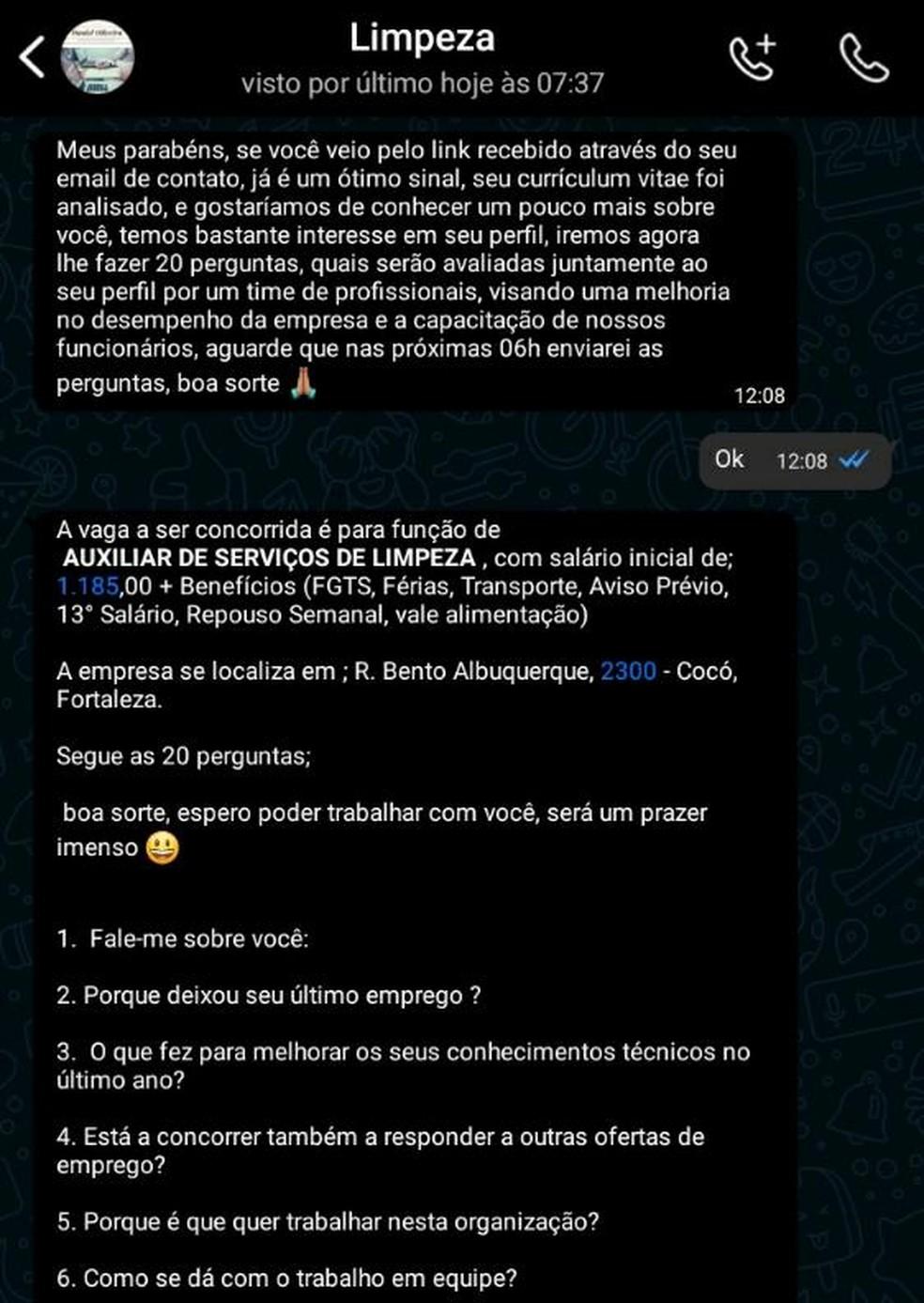Falso agenciador entrou em contato com Lucas Alves da Silva através de mensagens do WhatsApp. — Foto: Arquivo pessoal