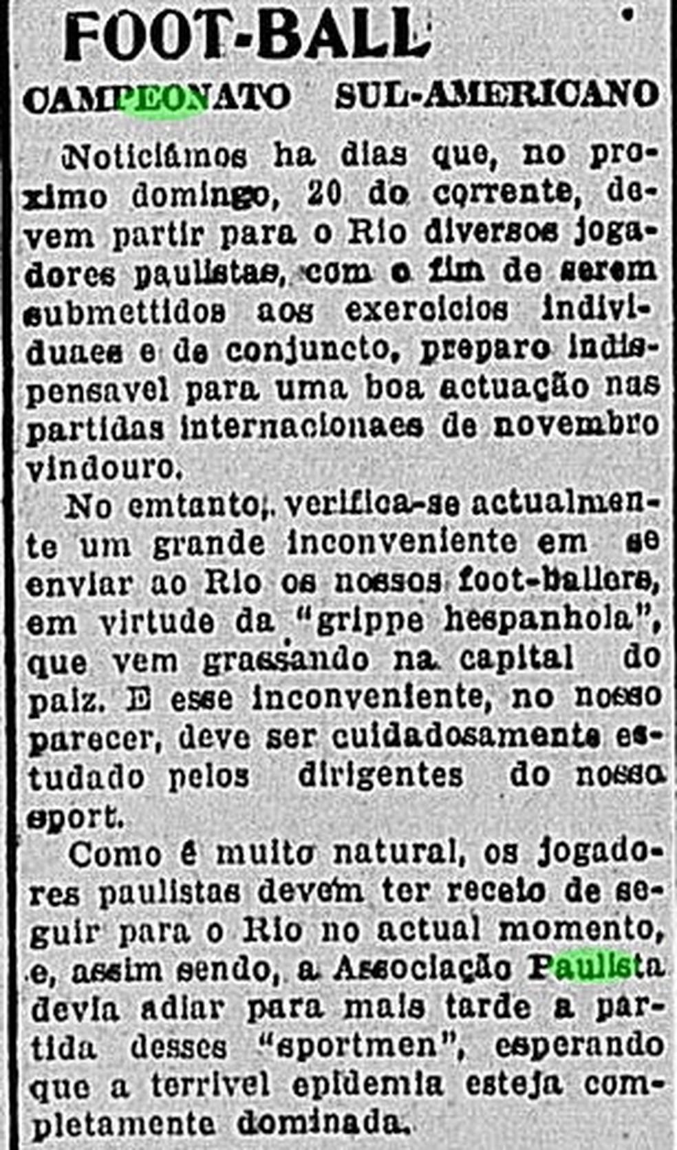 Jogadores de São Paulo não viajam ao Rio de Janeiro por causa da gripe espanhola — Foto: Reprodução/Jornal do Brasil