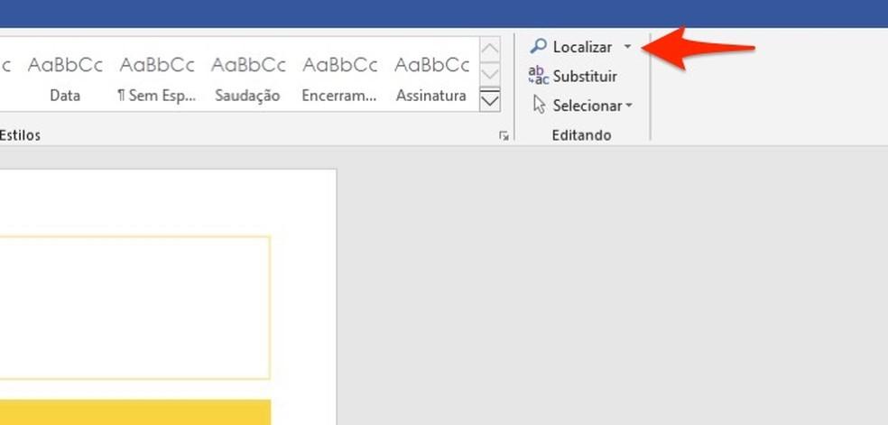 Ação para abrir a ferramenta de busca do Microsoft Word — Foto: Reprodução/Marvin Costa
