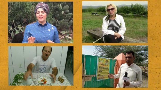 Vídeos prometendo curas - com tratamentos à base de leite de burra e bicabornato de sódio, por exemplo - encontrados pela BBC eram apresentados em árabe, russo, hindi e português (Foto: Reprodução Youtube via BBC News)