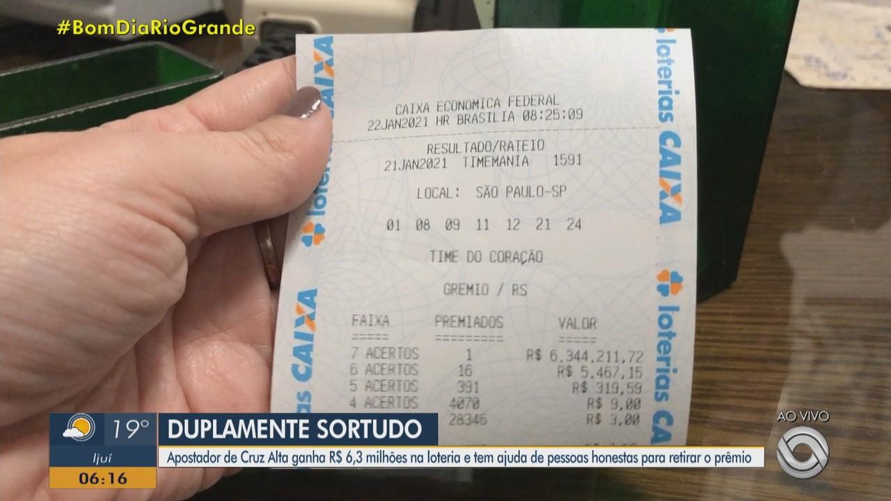 Apostador ganha R$ 6,3 milhões na loteria e tem ajuda de lotérica em Cruz Alta