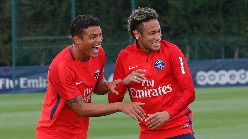Neymar treino Thiago Silva PSG (Foto: Divulgação/PSG)