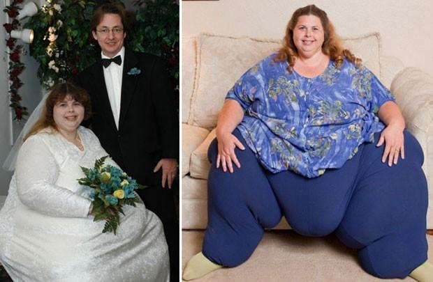 Alex e Pauline Potter no casamento, em 2003, e a mulher em foto recente (Foto: Reprodução/Guinness)