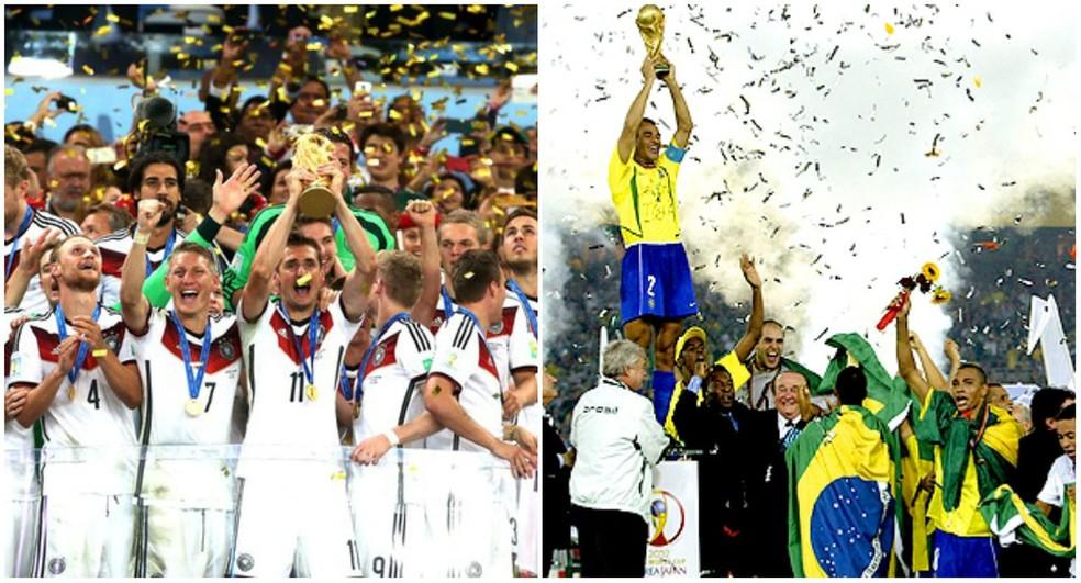 e0f5ec50bc663 ... Jogadores da Alemanha na Copa de 2014 e atletas do Brasil na Copa de  2002 —