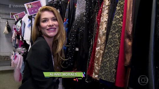 Alinne Moraes mostra guarda-roupa de Diana e ensina truque para disfarçar gordurinha