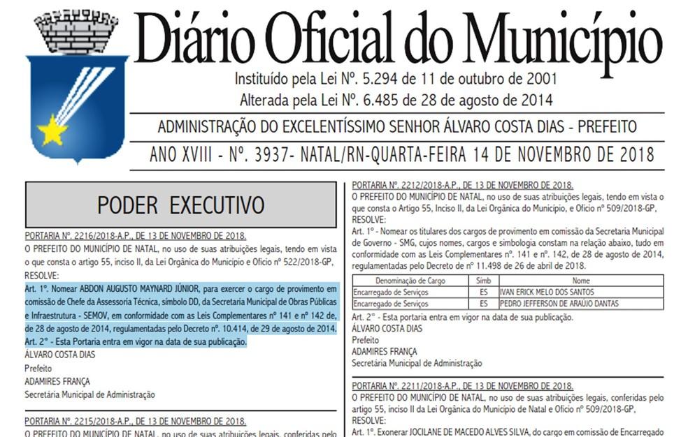Nomeação foi publicada nesta semana no Diário Oficial do Município de Natal — Foto: Reprodução/DOM