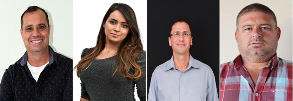 Motinha (PP), Rafaela (MDB), Rodrigo Pomba (PSD) e Rogerião (Cidadania) disputam as eleições suplementares de Anhembi neste domingo — Foto: Reprodução/TRE