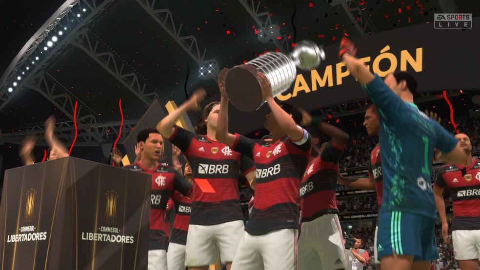 Atual campeão da Libertadores, o Flamengo não estava no FIFA 20 mas está no novo jogo — Foto: Reprodução/Yuri Hildebrand