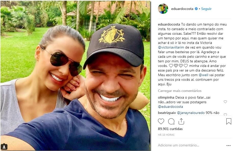Após processo de Fernanda Lima, Eduardo Costa 'dá tempo' em rede social: 'Cansado e contrariado'