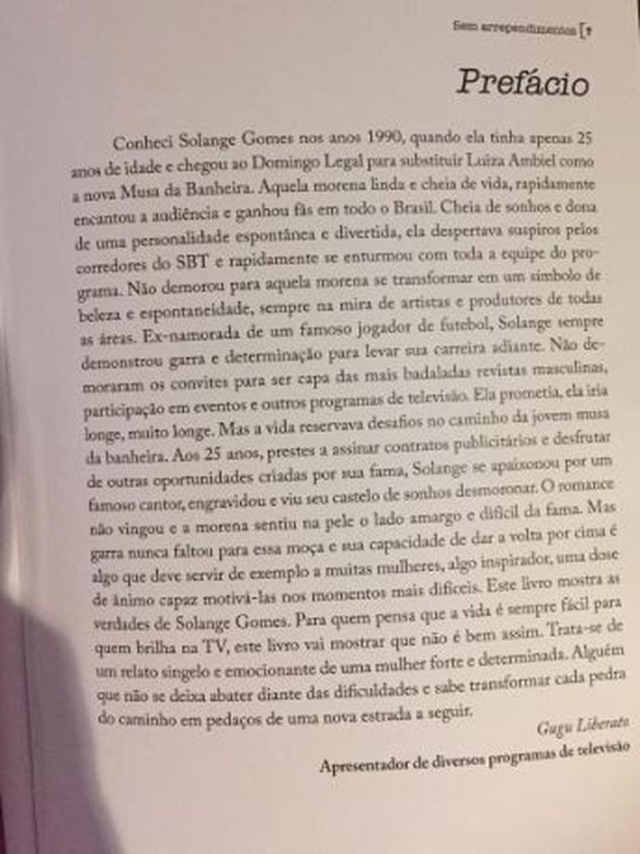 Prefácio de Gugu Liberato para o livro de Solange Gomes — Foto: Reprodução