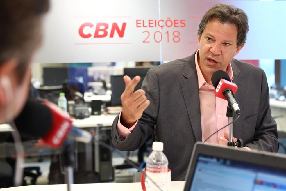 Fernando Haddad durante entrevista ao G1 e à CBN nesta terça-feira (18) — Foto: Marcelo Brandt/G1