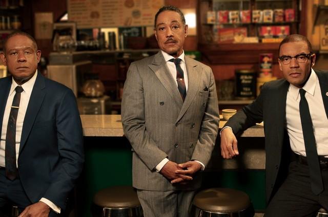 'Godfather of Harlem': Bumpy Johnson (Forest Whitaker), Adam Clayton Powell Jr (Giancarlo Esposito) e Malcolm X (Nigel Thatch) (Foto: Divulgação)