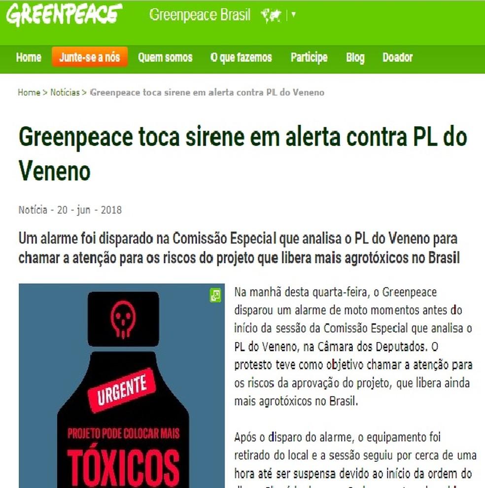Greenpeace publicou no site oficial uma nota em que assumiu a responsabilidade pela mala na comissão (Foto: Reprodução/Internet)