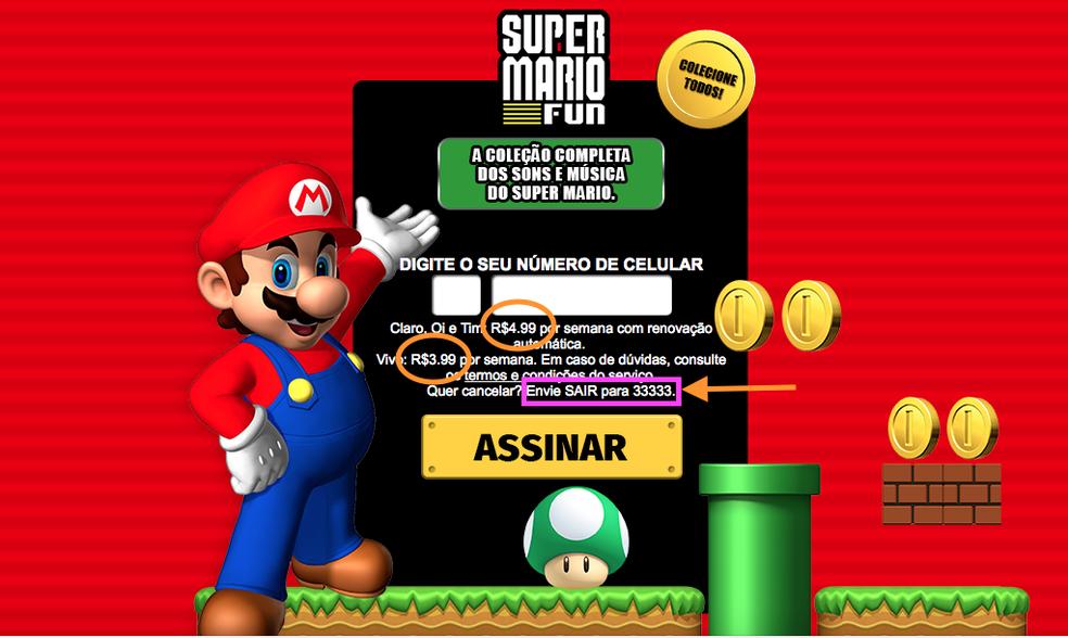 Instalação de falso Super Mario Run é paga e para sair envie SMS (Foto: Reprodução/ Melissa Cruz Cossetti)