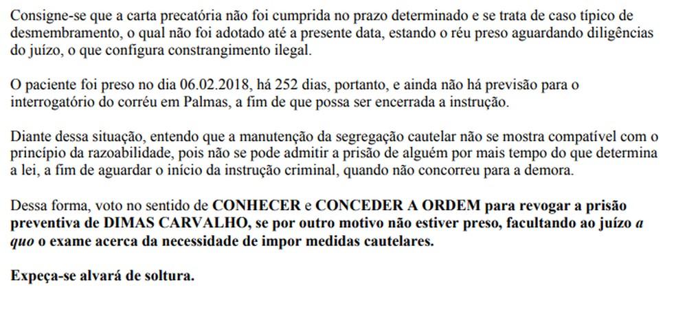 Trecho da decisão do TJ que manda soltar preso na operação Delivery — Foto: Reprodução