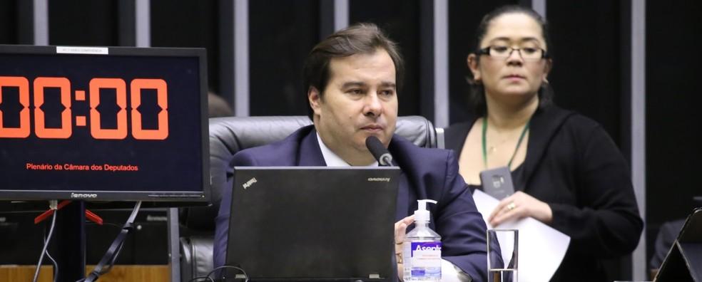 Presidente da Câmara, Rodrigo Maia (DEM-RJ), conduz sessão virtual na quarta-feira (1º) — Foto: Cleia Viana / Câmara dos Deputados