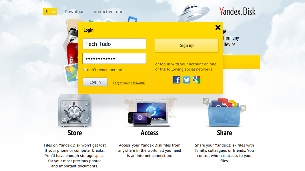 Yandex Disk | Download | TechTudo