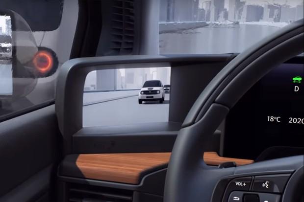 No novo elétrico da Honda, câmeras fazem o lugar de retrovisor e imagens gravadas aparecem em tela do lado do painel do veículo (Foto: Reprodução/Honda)
