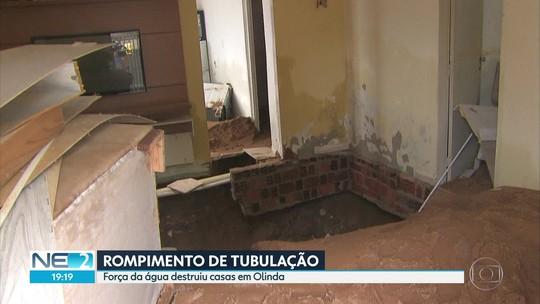 Defesa Civil de Olinda interdita dois imóveis após rompimento de tubulação de abastecimento