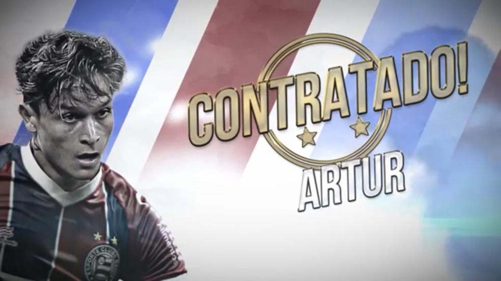 Bahia anuncia a contratação de Artur — Foto: Divulgação / E.C. Bahia