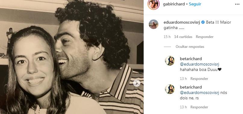Eduardo Moscovis e Roberta Richard em postagem da filha deles, Gabriela (Foto: Reprodução)