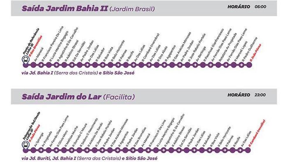 Linha 3 - Jd. Bahia II/Jardim do Lar (Via Jd. Bahia e Sítio São José) (Foto: Prefeitura de Várzea Paulista/Divulgação)