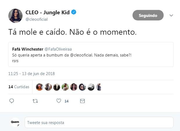 Cleo Pires dá resposta a seguidor em rede social (Foto: Reprodução/Twitter)