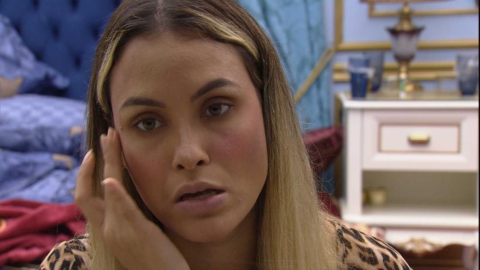 Sarah declara para Gilberto no BBB21: 'Minha primeira opção de voto continua sendo a Juliette' — Foto: Globo
