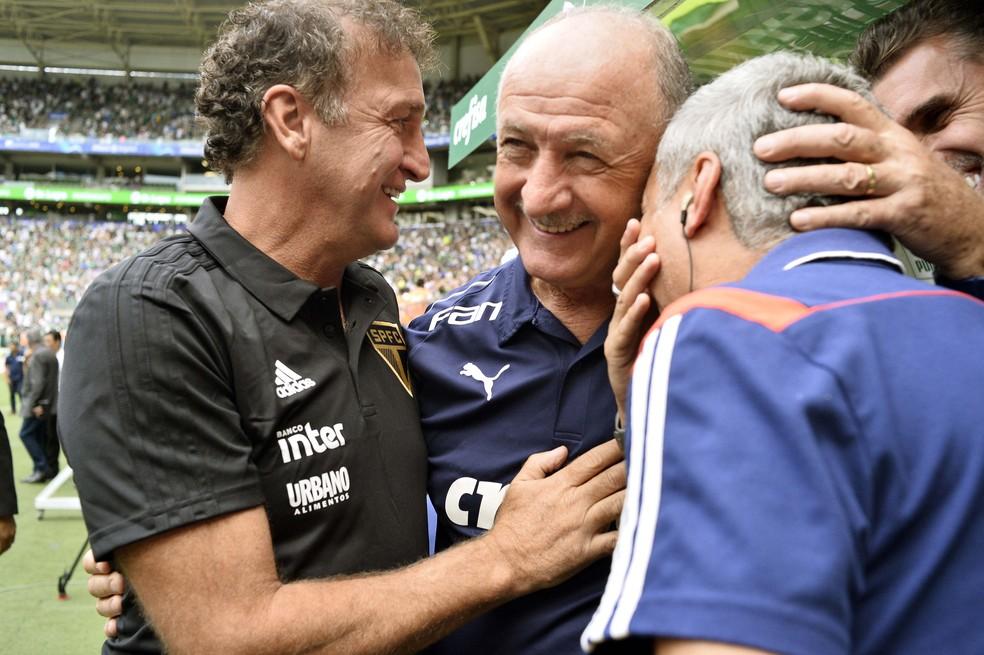 Cuca levou a melhor sobre Felipão na semifinal do Paulistão — Foto: Marcos Ribolli
