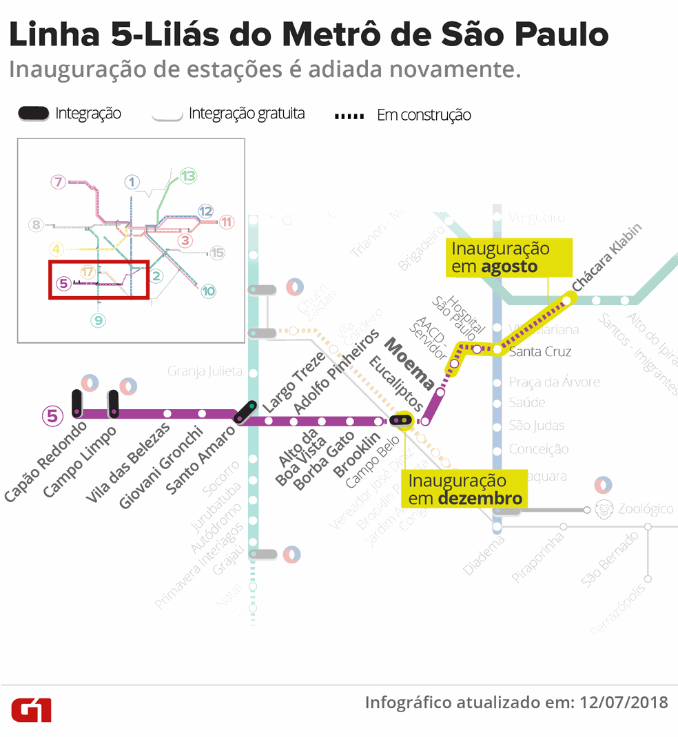 f745604cfbb2 ... Mapa da Linha 5-Lilás do Metrô de São Paulo — Foto: Karina Almeida