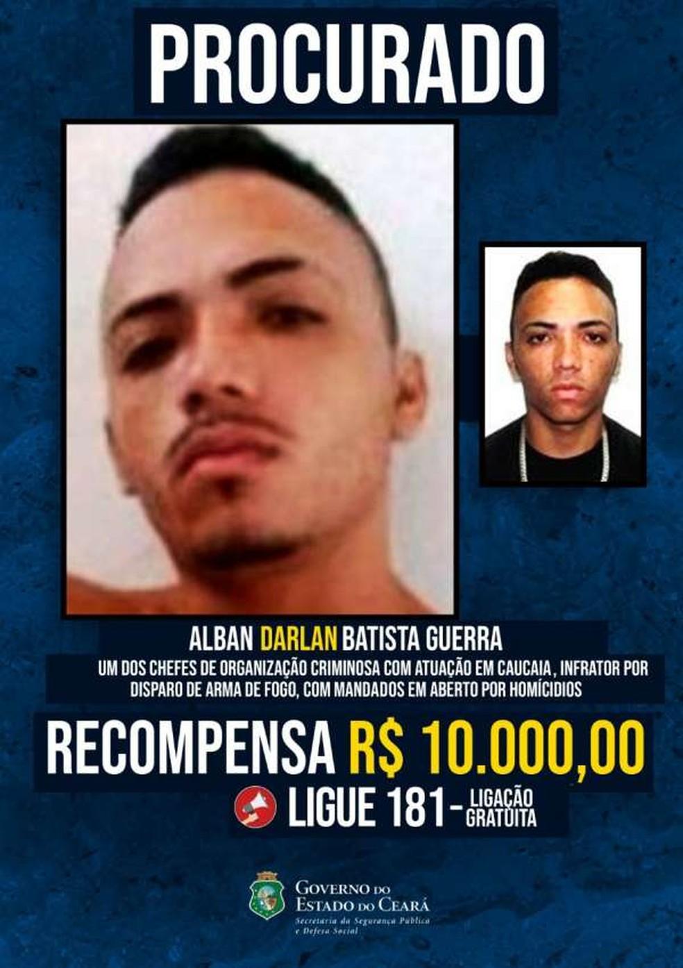 Polícia oferece recompensa de R$ 10 mil por informações que levem à prisão de chefe de facção de Caucaia — Foto: Reprodução
