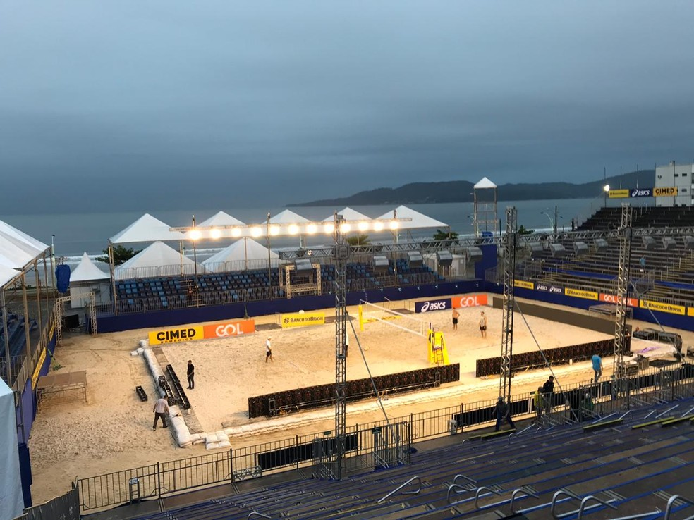 Arena da etapa de Itapema do Circuito Mundial de Vôlei de Praia — Foto: Winne Fernandes