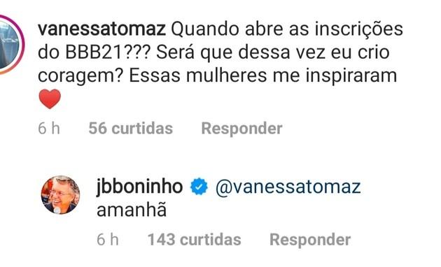 Boninho responde fã de 'BBB' no Instagram (Foto: Reprodução Instagram)