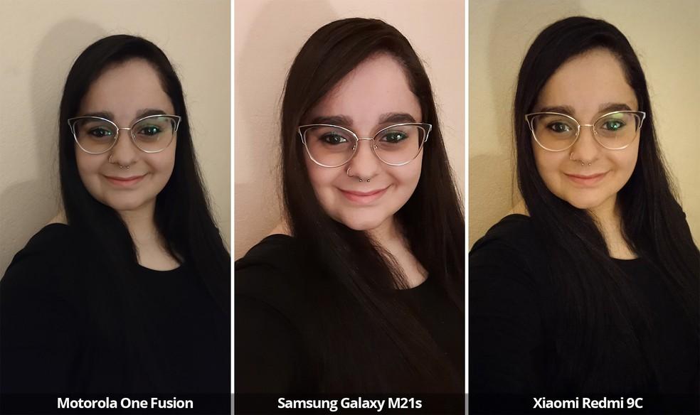 Comparativo das câmeras frontais do Motorola One Fusion, Samsung Galaxy M21s e Xiaomi Redmi 9C em baixa luz — Foto: Arquivo pessoal
