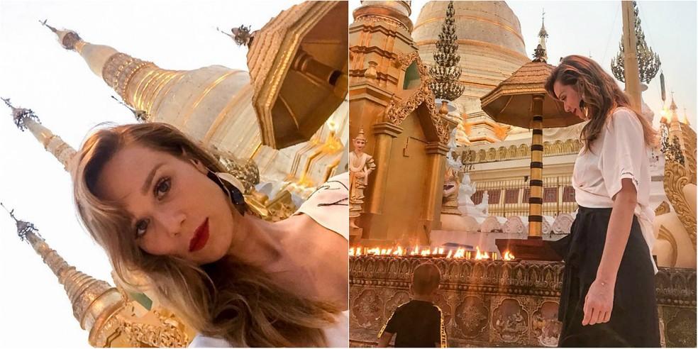 Mari visitou o Shwedagon Pagoda, o primeiro centro religioso de Myanmar (Foto: Arquivo Pessoal)