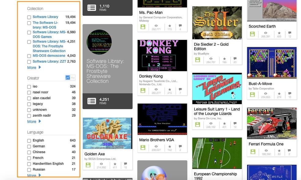Filtros do Internet Archive te ajudam a escolher o que jogar — Foto: Reprodução/Felipe Vinha