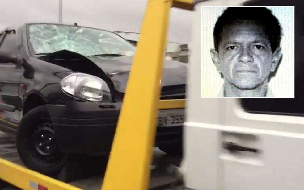 Polícia apreendeu carro e procura o motorista (no detalhe), que está foragido (Foto: TV Globo/Reprodução)