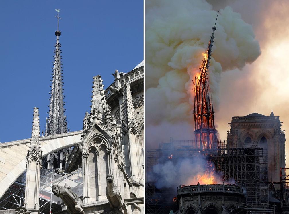 Comparativo mostra imagem de arquivo com o incêndio ocorrido nesta segunda-feira (15) na Catedral de Notre-Dame, em Paris — Foto: Ludovic Marin/AFP; Geoffroy Van Der Hasselt/AFP