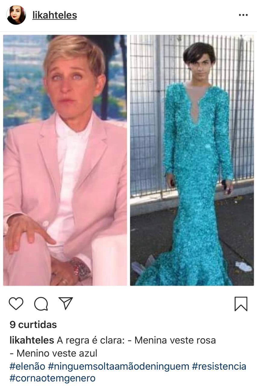 Meme com Ellen De Generes (Foto: reprodução instagram)